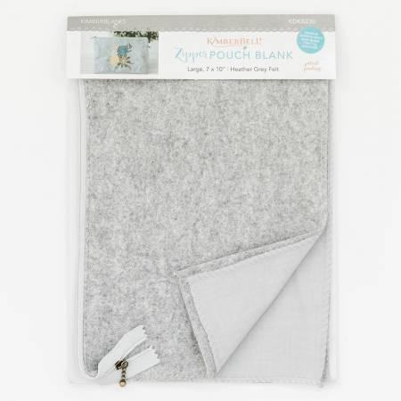Kimberbell Zipper Pouch Blank - Heather Grey Felt Lg 7x10""