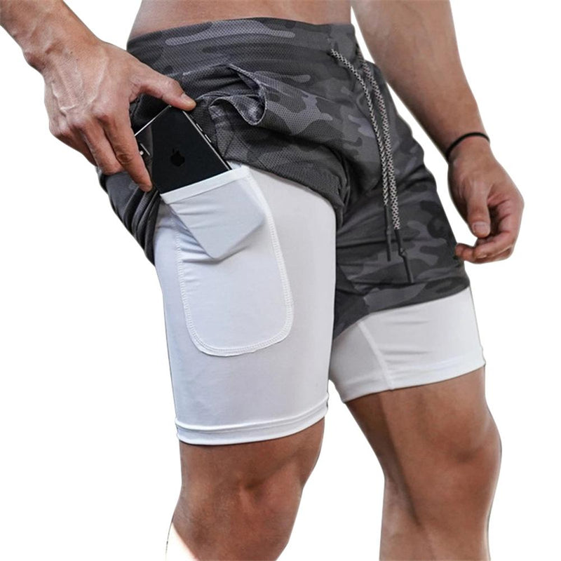 Mens 3 in 1 Workout Shorts - Quick dry with phone & towel holder - Dennet