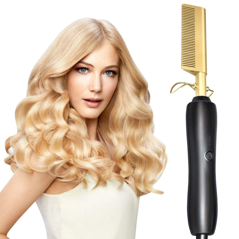 2 in 1 Hot Comb Hair Straightener Wand & Hair Curler V2.0 - Dennet
