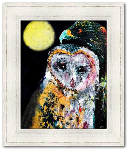 Moonlight and All That May Begin Spirited Life Painting Owl Hawk Full Moon England Birds of Prey
