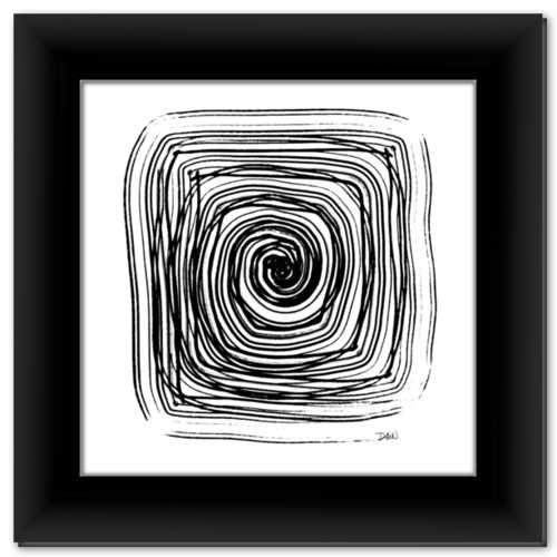 Spiral in a Square ☼ Simple Inspiration Design {Art Print} Black and White Minimalist Art