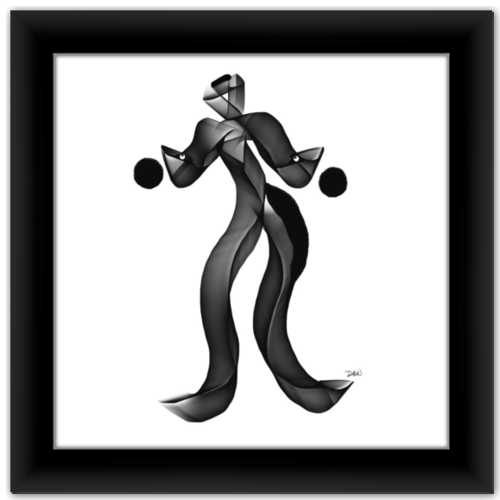 The Juggler Simple Inspiration Black and White Minimalist Framed Art Print