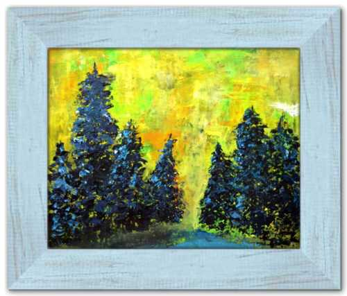 Tremors of Excitement Spirited Life Painting Colorado Tree Painting Yellow Sky
