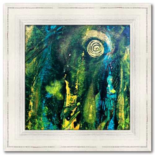 Xanadu: The Two Two Minutes Before They Knew Spirited Life Painting Abstract Blue Green Gold Dawn Richerson Painting
