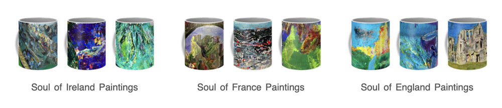 The artful cuppa for a happy beginning to your soul-Inspired. Mugs featuring Dawn's Soul of Place and Spirited Life paintings.