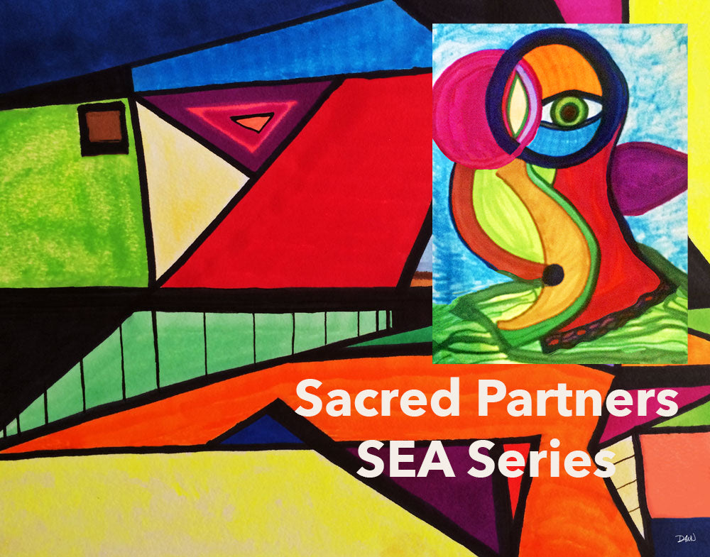 Sacred Partners SEA Series Soul Essence Art Prints Fun, Whimsical Soulmate Relationships Soul Love Twin Flame