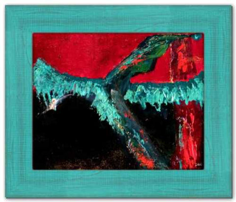 Fire Dancer ☼ Spirited Life Painting {Art Print} Dawn Richerson Ireland Forest Abstract Painting Red Teal