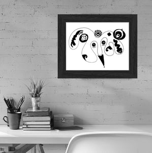 Joker's Wild Simple Inspiration Black and White Minimalist Art Print