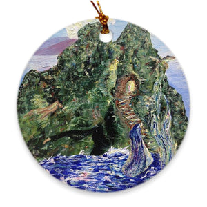 Holy Mountain Soul of Ireland Porcelain Ornament Ornament Dawn Richerson Round Double Sided - Full Bleed