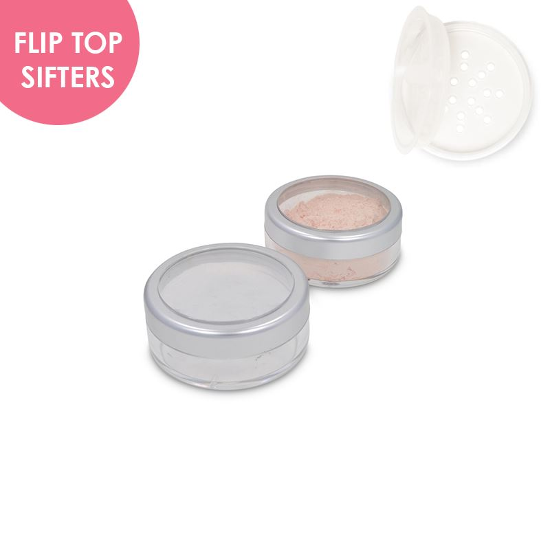 Jars: Matte Silver Rim and Flip Top Sifters