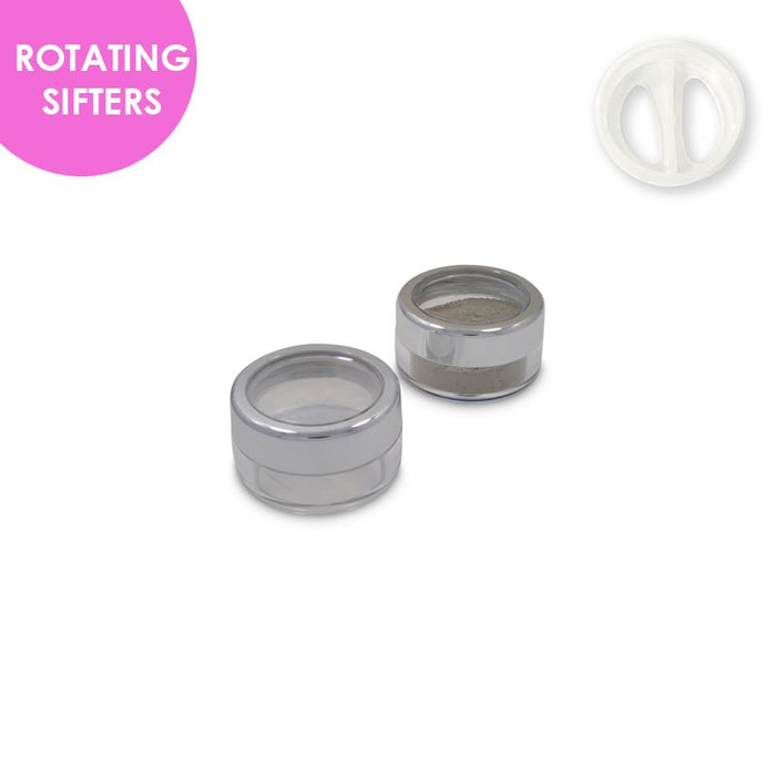 Jars: Shiny Silver Rim and ROTATING Sifters
