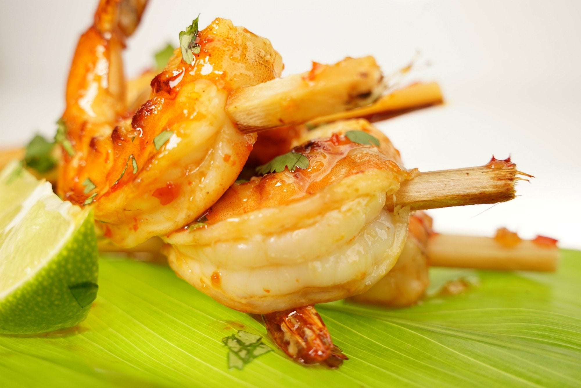 Hawaii Sugarcane Skewers With Prawns, Thai Sauce And Hokkaido Sweet Mochi Rice
