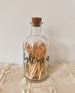 """Light Me UP"" Glass Bottle with Matches"