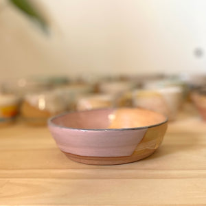 Pink with caramel wide bowl