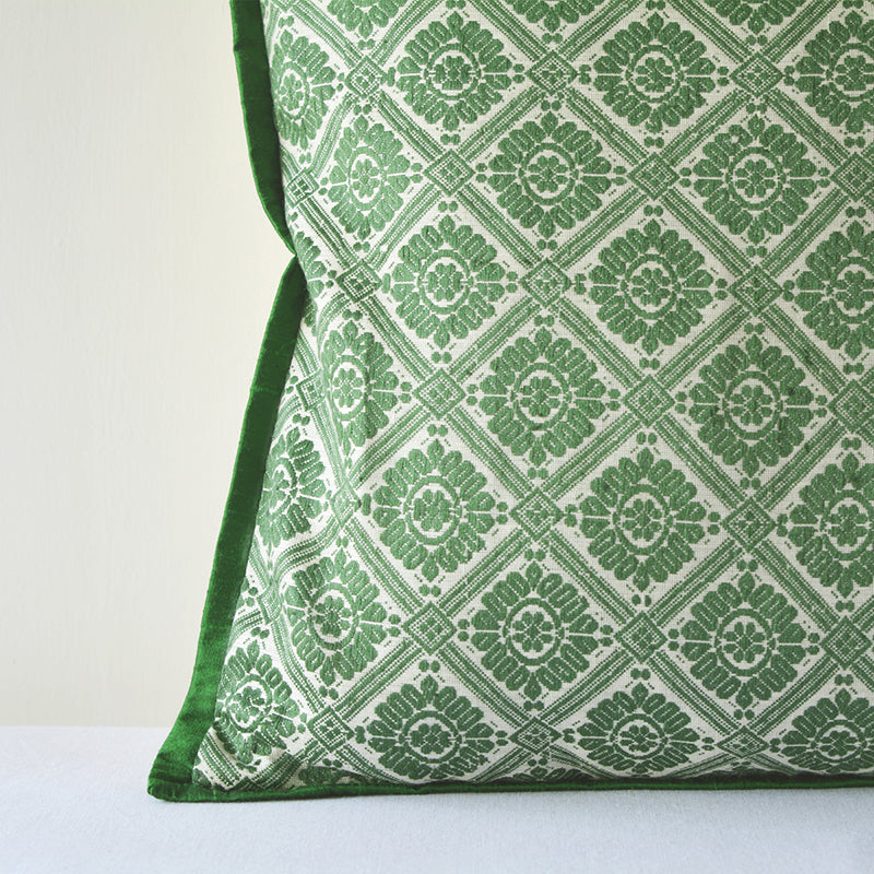 Assamese Ahimsa Silk Woven Cushion Cover (Green)