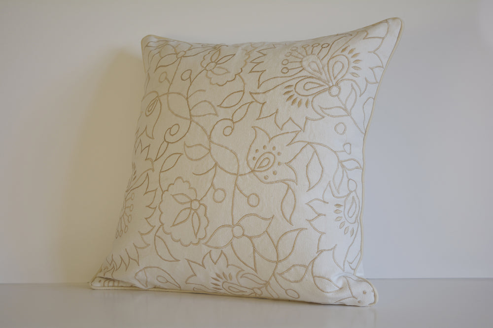 Floral Canvas Cushion Cover