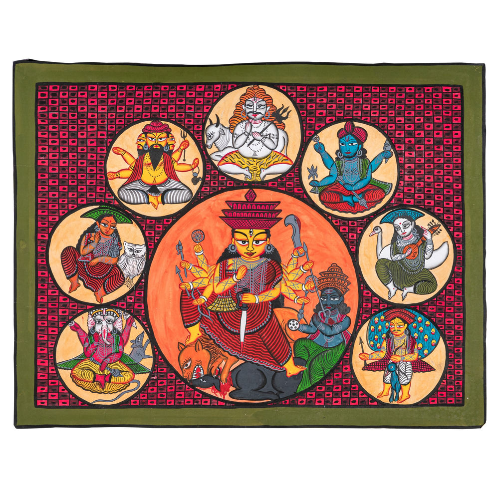 BENGAL PATTACHITRA : Durga, Her Chidlren and the Trinity