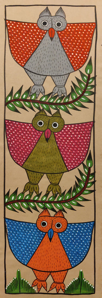 BENGAL PATTACHITRA : Red, Pink and Blue Owls