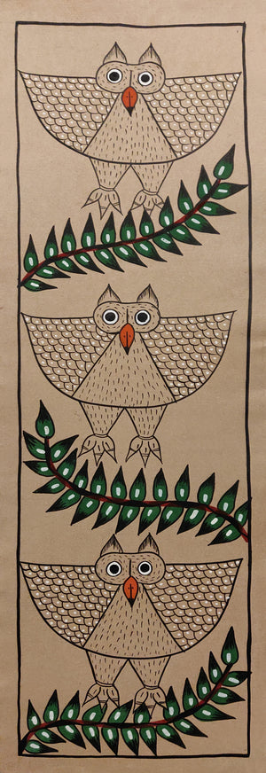 BENGAL PATTACHITRA : Three Owls on Three Branches