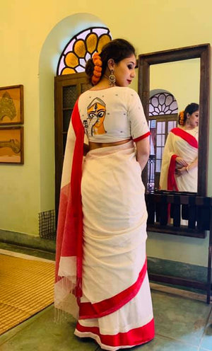 White Durga Face Blouse