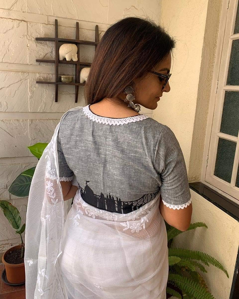 Load image into Gallery viewer, Gray Kolkata Skyline Blouse