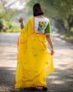 Yellow Coconut Jamdani Saree