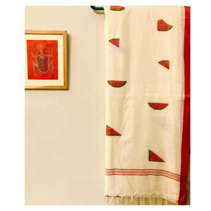 White Jamdani Watermelon Saree