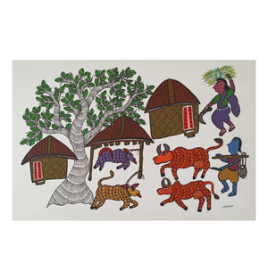 Load image into Gallery viewer, GOND : Village Scene