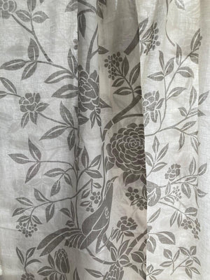 Birds of Paradise - Grey on Off White Linen