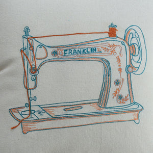 Retro Sewing Machine Cushion Cover