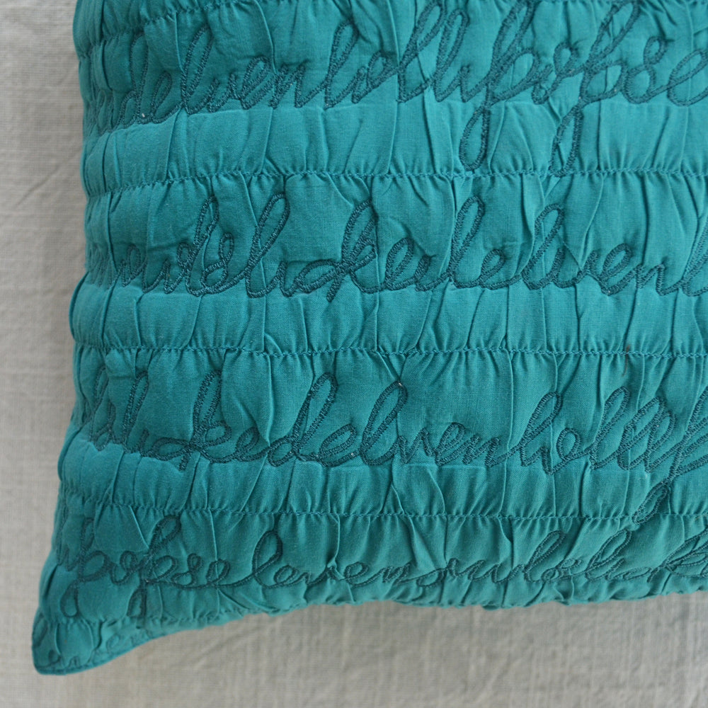 Load image into Gallery viewer, Letters Teal Cushion Cover