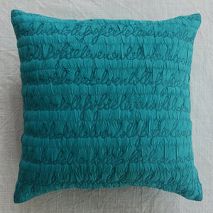 Letters Teal Cushion Cover