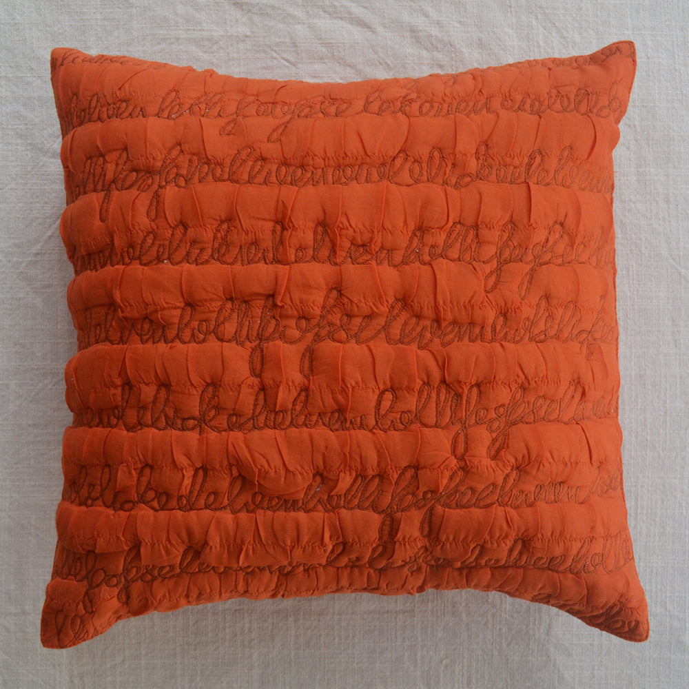 Letters Orange Cushion Cover