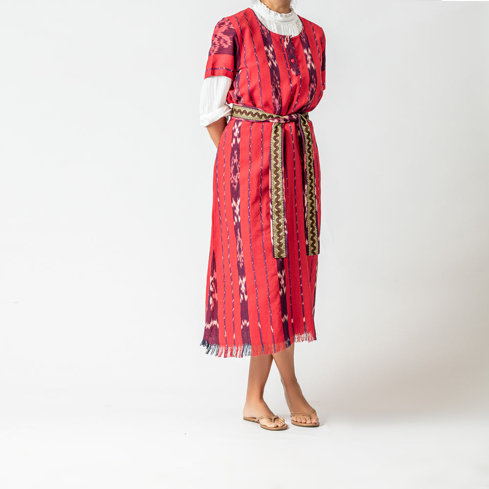 Red batik tunic dress