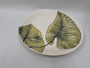 Handpainted Leaf Rice Plate