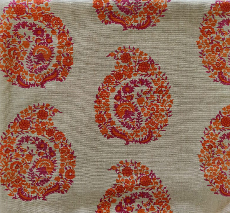 Badam - Pink and Orange on Khaki