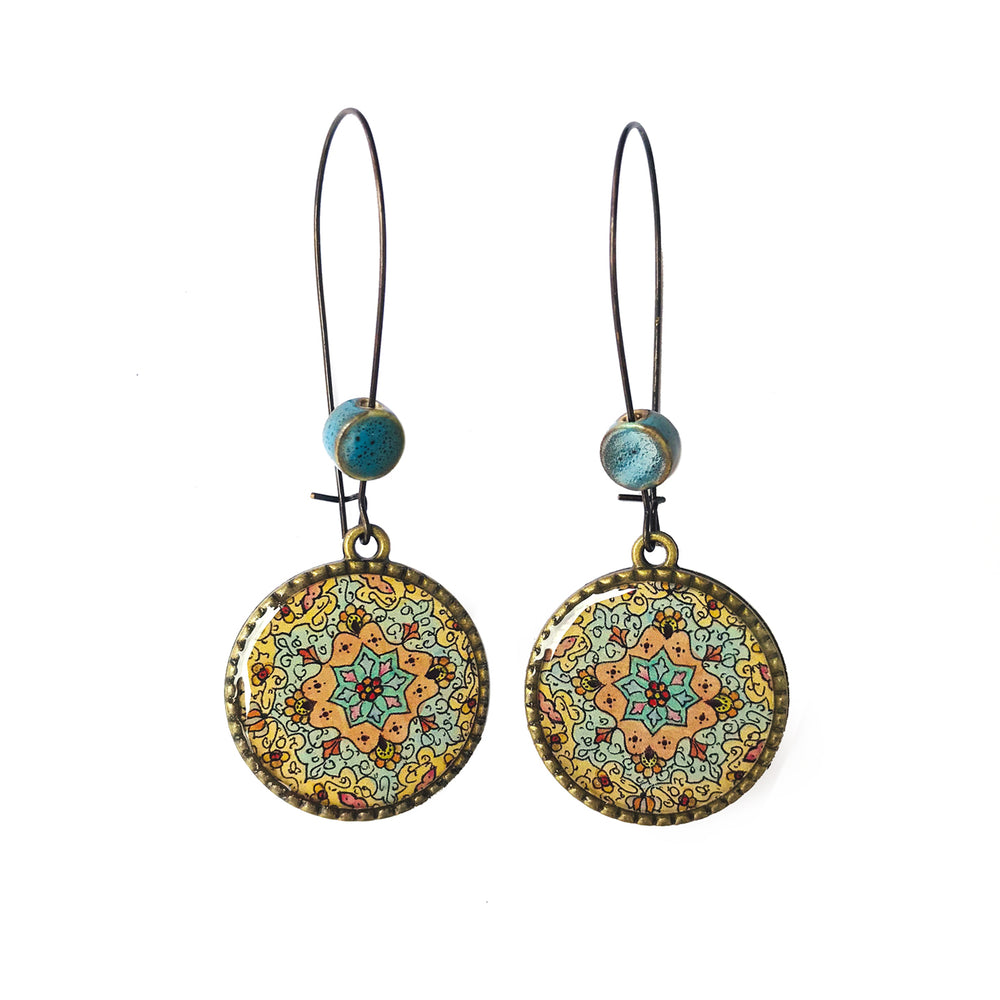 25 mm LOOP EARRINGS  with ceramic bead - Detail Painted Box Kashmiri Papier Mache - Blue Centre