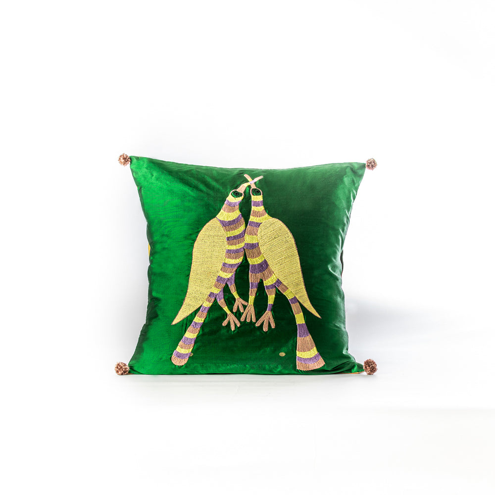 Vintage sari Gond Pakshi cushion cover