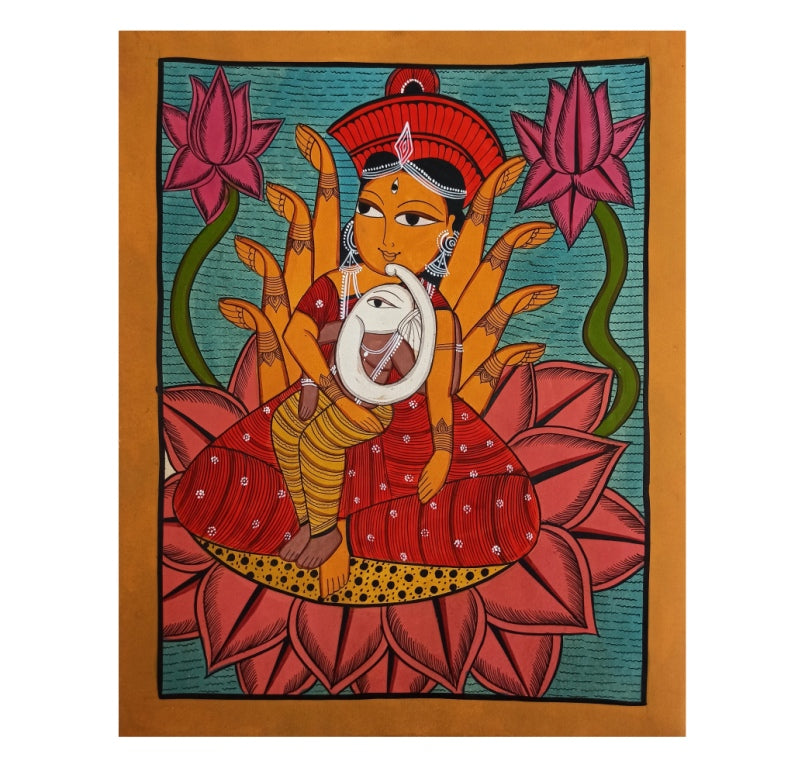Load image into Gallery viewer, BENGAL PATTACHITRA : PARVATI & GANESH