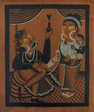 KALIGHAT : Family with Hookah