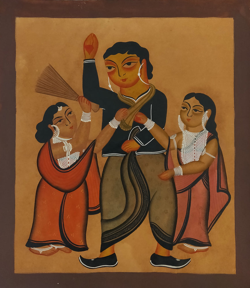 KALIGHAT : A Husband Being Beaten By Two Wives!