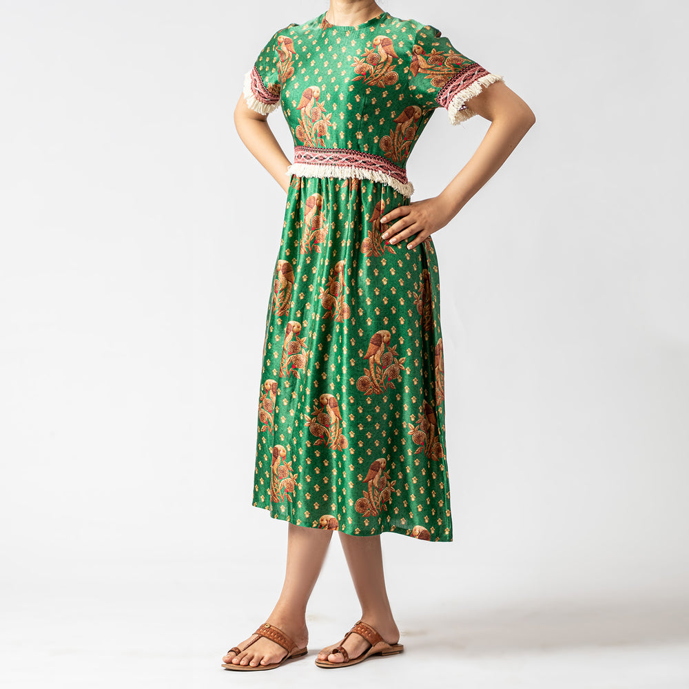 Green silk print dress