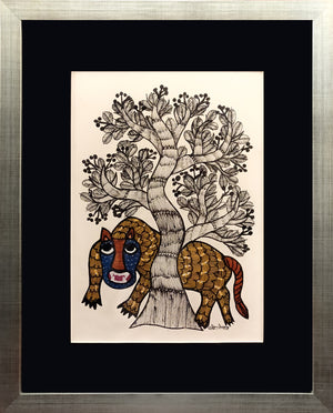GOND : Tiger (framed - part of pair)