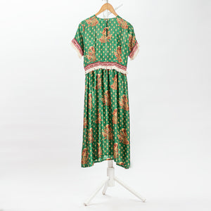Load image into Gallery viewer, Green silk print dress