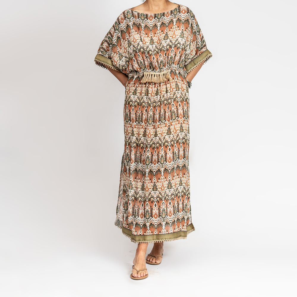 Brown printed Georgette dress