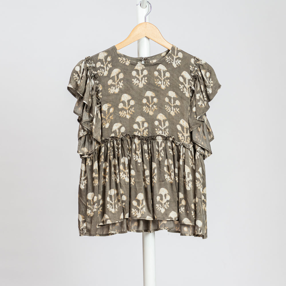 Beige printed silk top