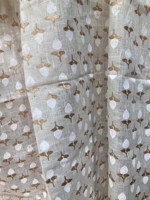 Belphool - White and Gold on Off White Linen