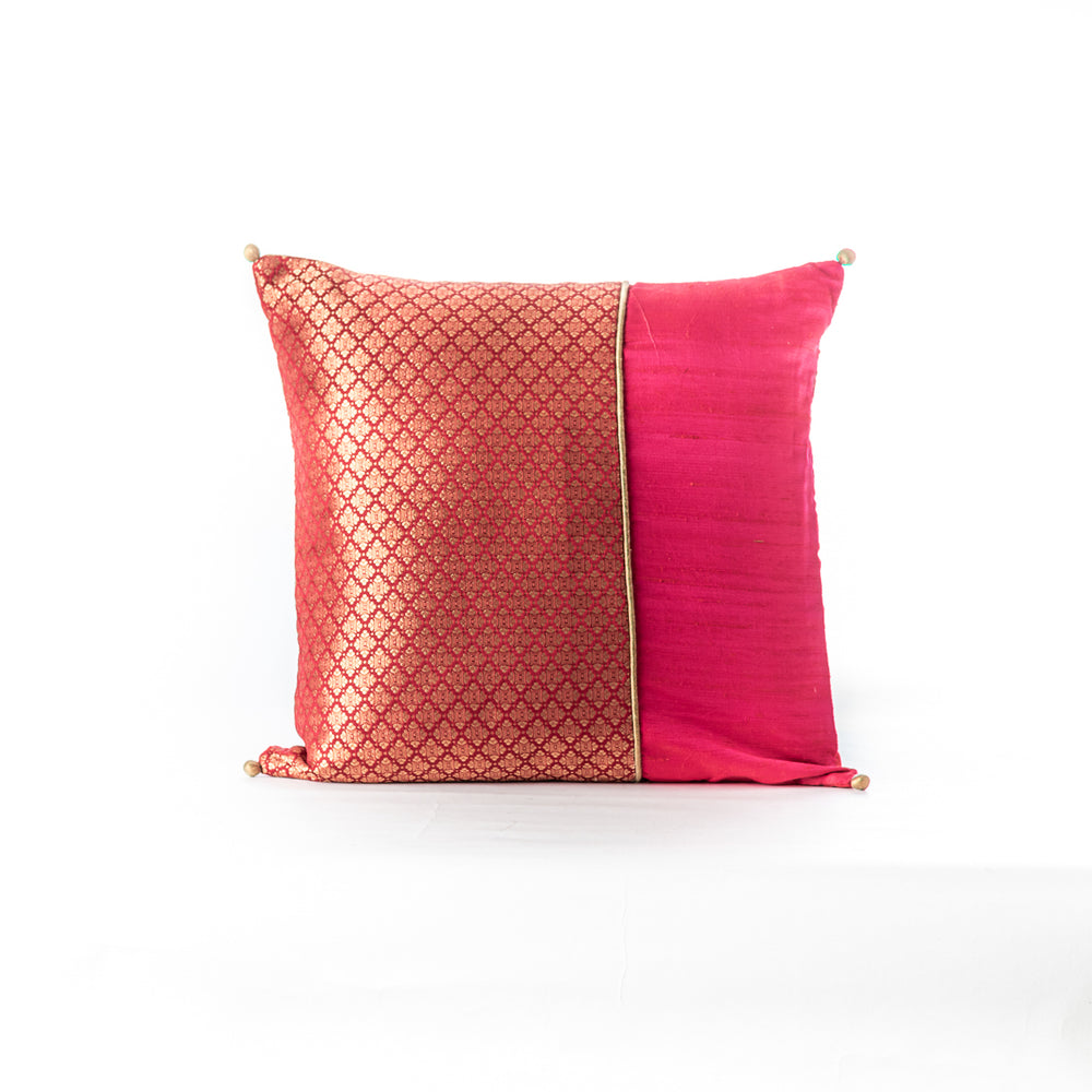 Red Brocade Patchwork  Cushion Cover