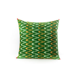 Yellow and Green Quilted Cushion Cover