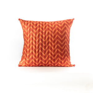 Orange Quilted Block Print Cushion Cover
